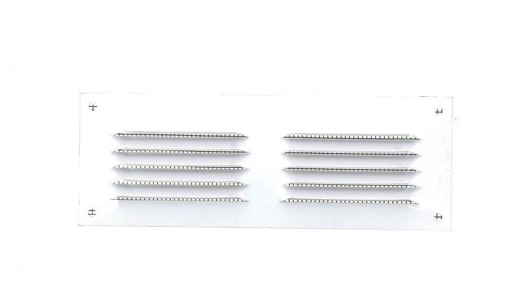 Grille métal à auvents 140x50mm blanche avec moustiquaire DMO