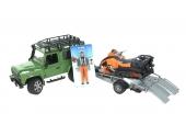 Land Rover Defender avec remorque, motoneige et conducteur Bruder 2594
