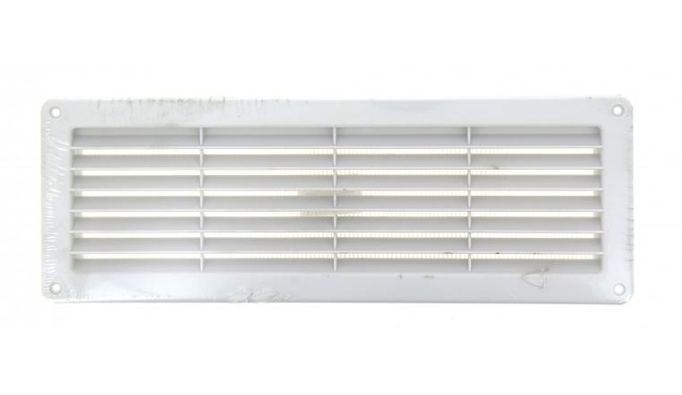 Grille rectangulaire plastique encastrable 370x123 mm blanche DMO