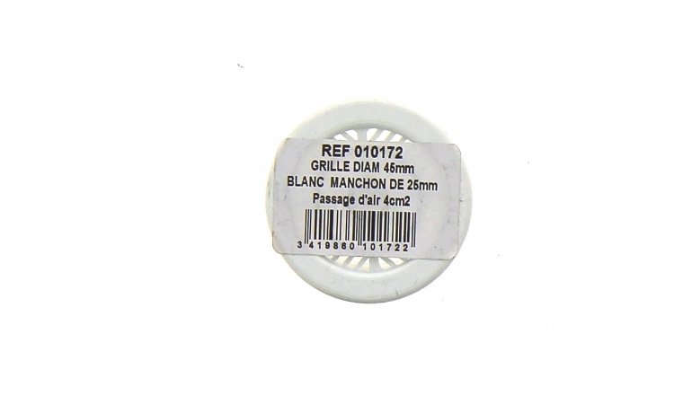 Grille PVC ronde à encastrer diamètre 45mm DMO 010172