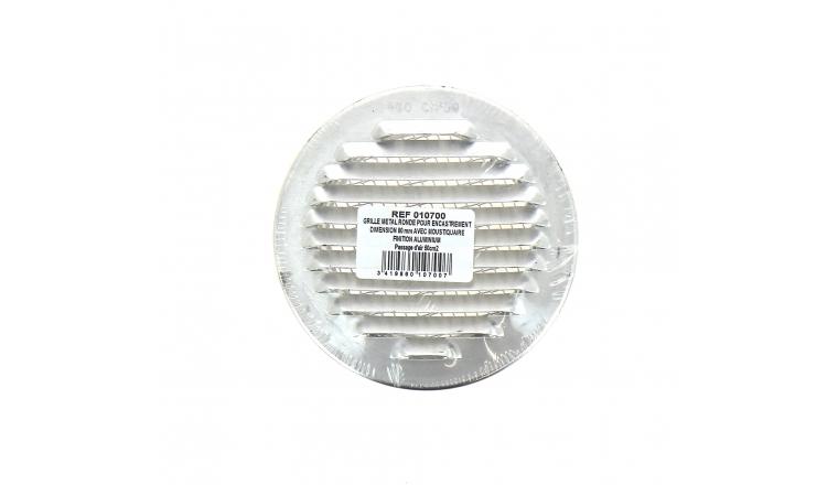 Grille ronde en métal diamètre 80 à 120mm finition alu DMO