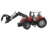 Tracteur Massey Fergusson 7624 avec chargeur et remorque Bruder 3047