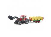 Tracteur Case IH Optum 300 CVX avec remorque et balles rondes